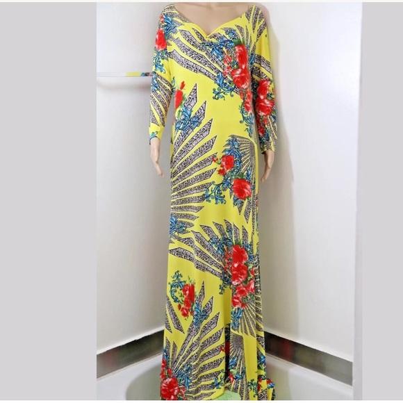 4f17ce036ae Plus Size Floral Print Jersey Knit Maxi Dress Long